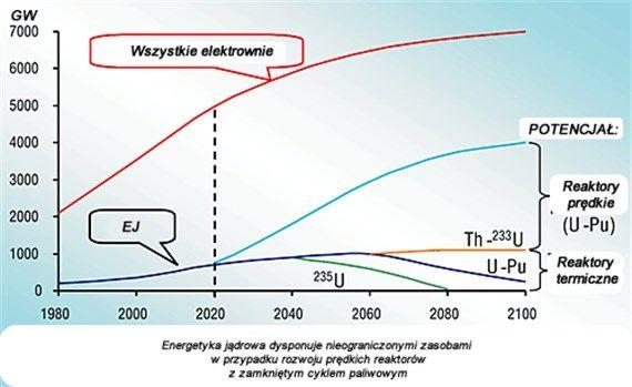 Wykres rozwoju rosyjskiej energetyki do 2100 roku z uwzględnieniem EJ(źródło: www.atomic-energy.ru).